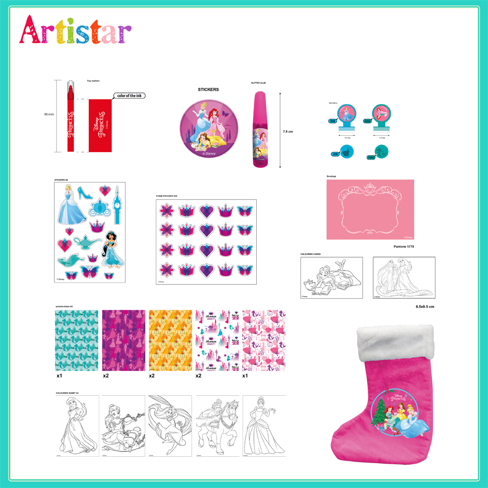 Disney Princess Christmas Stocking Attractive Art Set 2
