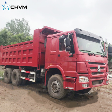 Red Color Howo Dump Truck Used Tipper
