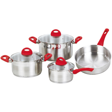 Cookware Set with Red Rubber Heat Resistant Handles