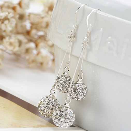 Drop Earrings With Shiny Stones