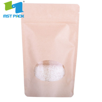 High Quality Biodegradable Natural Kraft Paper Stand Pouch