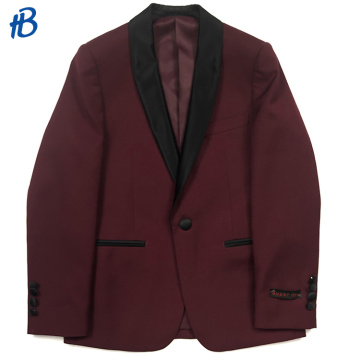 Boy's dark red single-breasted tuxedo business suit blazers suit for men