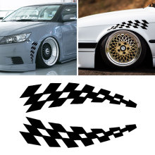 Racing Stickers Vehicle Car Decals Wheel Eyebrow Checkered Flags Safety Reflector Vinyl Stickers Prevention for Audi BMW Jeep