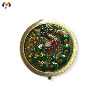 Metal pocket folding vintage pocket mirror logo
