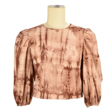 wholesale cotton trendy office oversized puffy puff sleeve  blouse women long sleeve