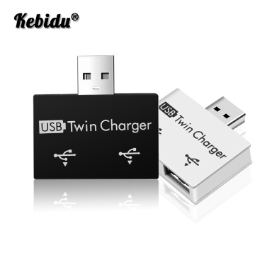 Kebidu Mini USB Twin Charger USB To 2 Port Charger Adapter Splitter Hub For Mobile Phones Computers U Disk Accessories Gadgets