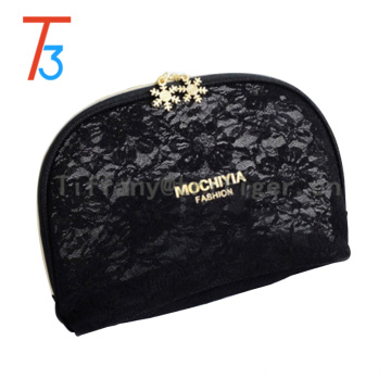 2016 factory direct Vintage gold zipper Fashion PU Leather lace makeup bag