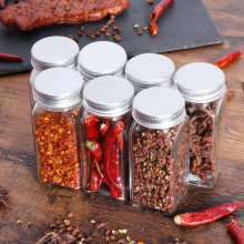 BESTONZON 12pcs Spice Jars Square Glass Jar with Lid Containers Seasoning Bottle Kitchen Storage Bottles Condiment Containers