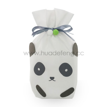 Black White Non-woven Panda Drawstring Gift Packing Bag