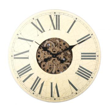 18 Inch Wooden  Rustic Gear Wall Clock
