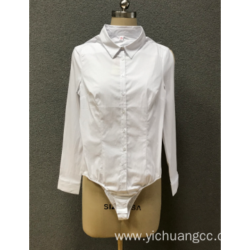 women`s white one-piece shirt