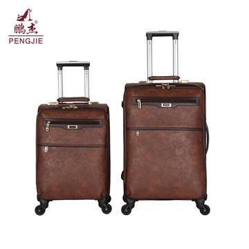 Brown classic oil leather suitcase luggage bag