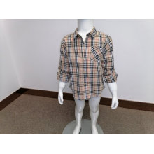 Boy's cotton y/d check long sleeves shirt