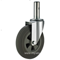 125mmthreaded stem   European industrial rubber  swivel caster without  brake