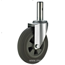160mm threaded stem   European industrial rubber  swivel caster without  brake