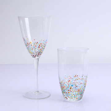 Color Bottom Decoration Drinking Glass