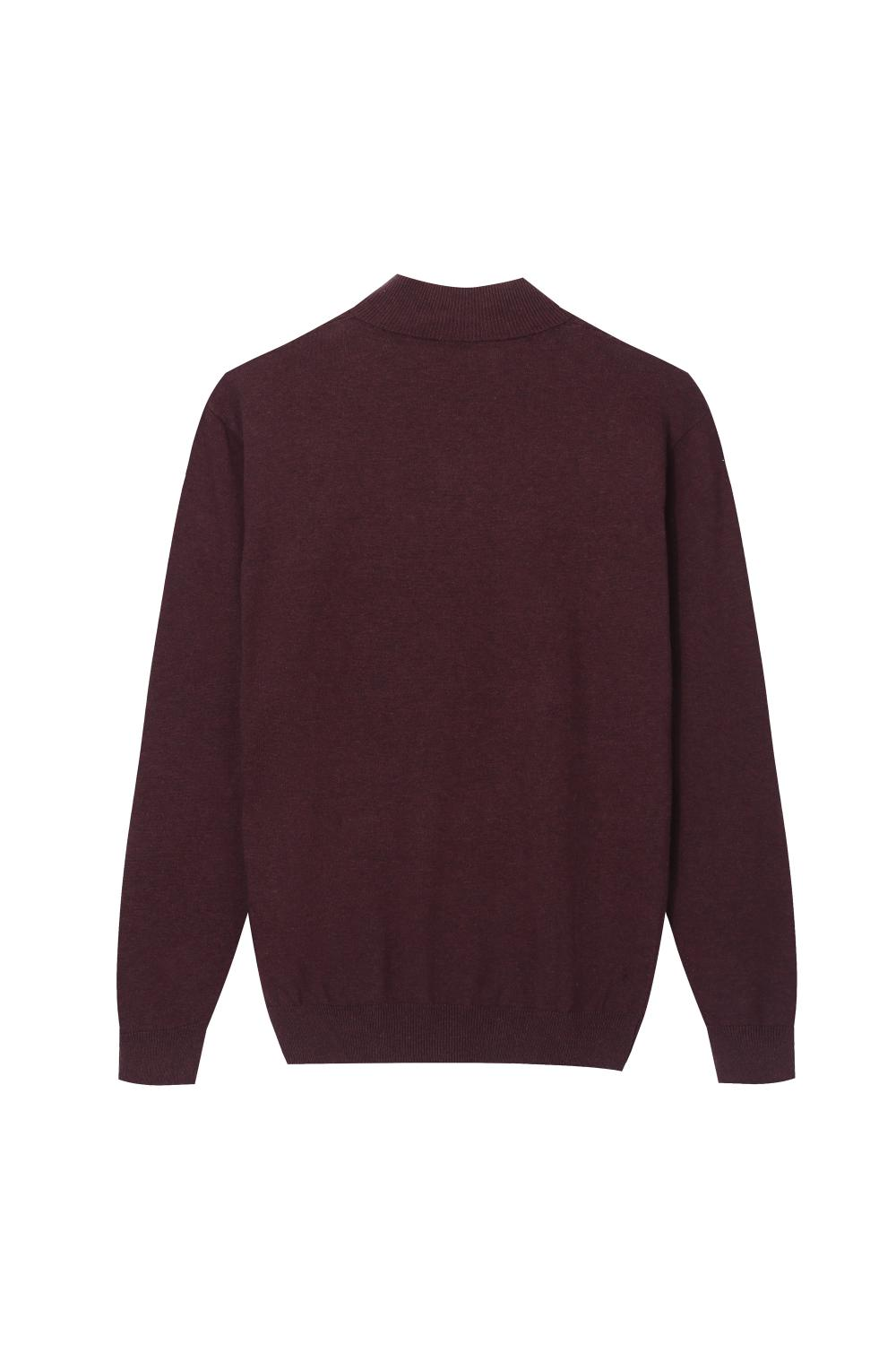 Men's Knitted Quarter Zip Mock-neck Pullover