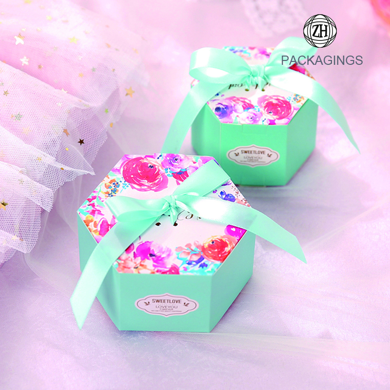 Hexagon gift candy box with ribbon decoration