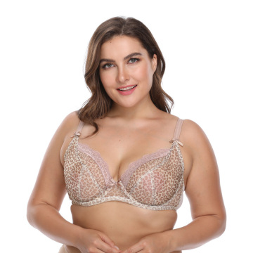 In-stock plus size Leopard print mesh underwire bra