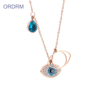 Dainty Rose Gold Blue Crystal Evil Eye Necklace