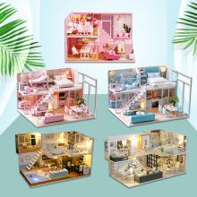 DIY Miniature DollHouse Model Doll House Furniture LED Light 3D Wooden Mini Dollhouse Handmade Gift Toys For Children L023 #E