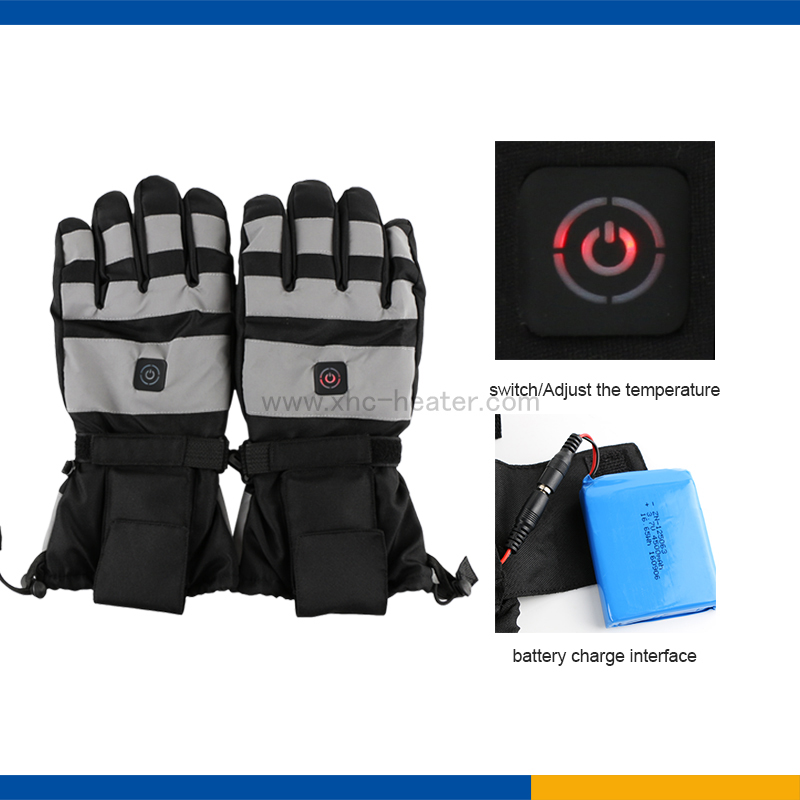 Three Temperature Controller Heated Ski Gloves