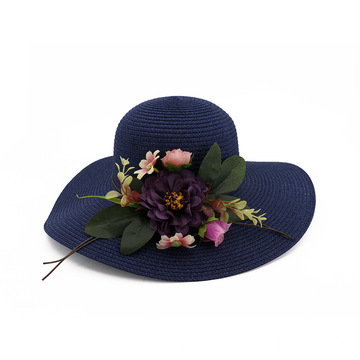 Adjustable greens flower outing paper straw hat