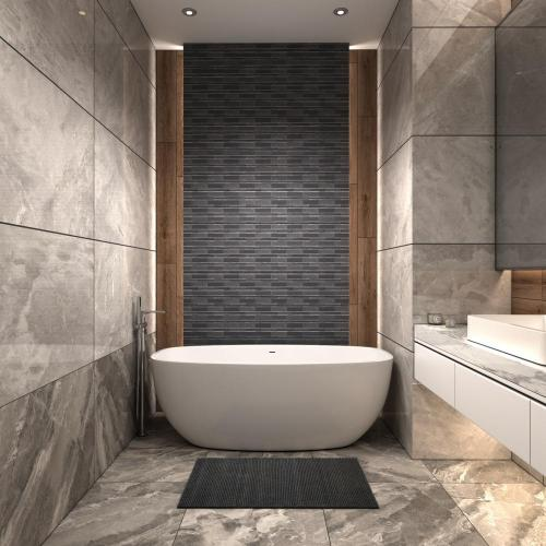 Shower Room Wall Black Glass Mosaic Art Tiles