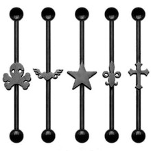 Black Titanium 3D Logo Ear Industrial Barbell