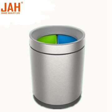 JAH Stainless Steel Round Wastepaper Basket for Home