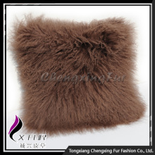 Hand Knit Mongolian Lamb Fur Fancy Cushion Cover