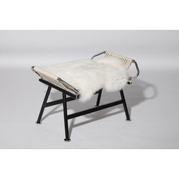 Flag halyard stool with sheepskin