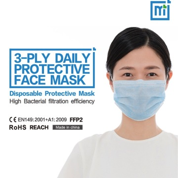 Low resistance 3 layer disposable face mask