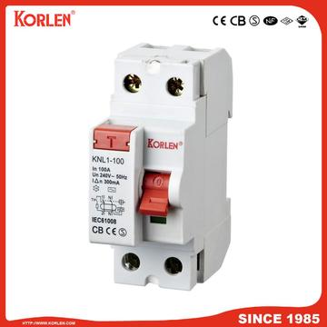 Residual Current Circuit Breaker KNL1-100 100A SEMKO 2P