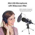 USB Condenser Desk Microphone with Shock Mount Windscreen Mini Tripod Recording Gaming Mic for PS4 Computer Desktop Laptop PC