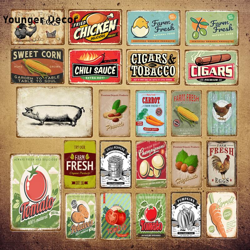 Farm Fresh Eggs Metal Poster Sweet Corn Tobacco Tomato Potato Wall Decor Chicken Art Painting Plaque Vintage Tin Signs YI-043