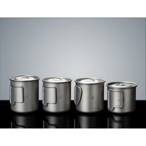Stainless Steel Cup Camping Mug Foldable Handle Pot