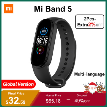 Xiaomi Mi Band 5 Global Version Smart Bracelet 4 Color AMOLED Screen Smartband Fitness Tracker Bluetooth Sport Band 5 Waterproof