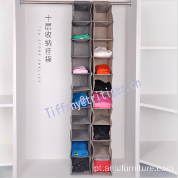 Brown black color Wardrobe Clothes Storage 10 Shelf hanging closet organizer