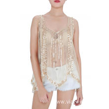 Embroidered Sequin See Through Tank Tops