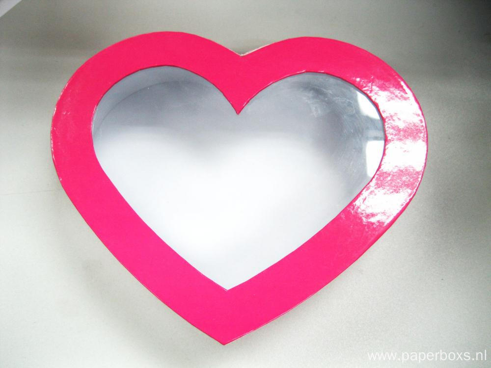 Pink Heart Shape Cardboard Box With Clear Window