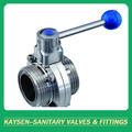 SMS Sanitary thread butterfly valve with handle