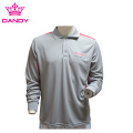 Grey Mens Long Sleeve Polo Shirt