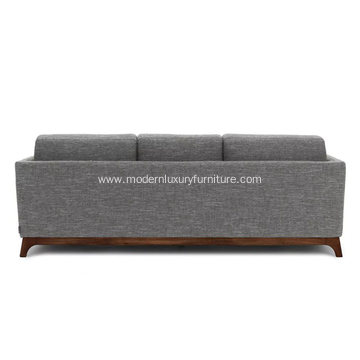 Ceni Volcanic Gray Fabric Sofa with Wooden Feet