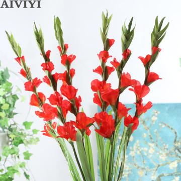 6 heads gladiolus orchid silk artificial flower bonsai flower plant home wedding arrangement home decoration DIY aerobic potted