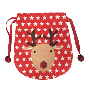 Portable christmas bag with reindeer pattern