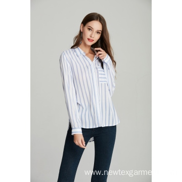 ladies woven printed blue stripe shirt blouse