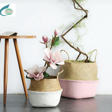 Round Two-tone Mat Grass Flower Basket