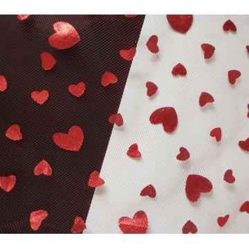Square tulle fabric with foil red heart
