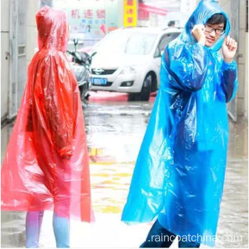 PE Transparency Hooded Disposable Raincoat With Sleeve